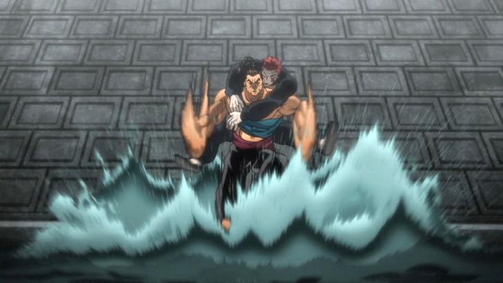 ドイルを背負った状態で川の上を走る烈海王